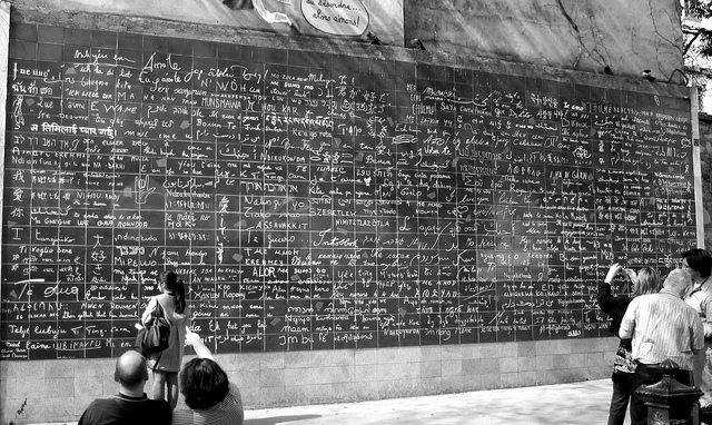 """Le Mur Des Je T'Aime"" in France, where ""I Love You"" is written in hundreds of languages."
