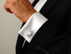 LED Power Cufflinks on a nicely cut suit
