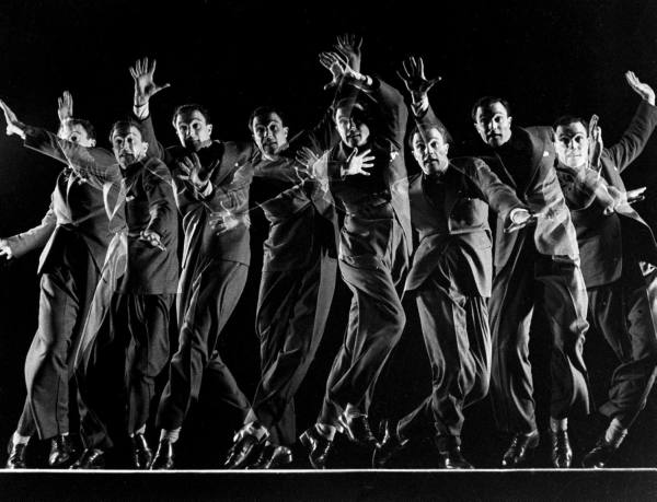 Dancer actor Gene Kelly in multiple-exposure dance sequence