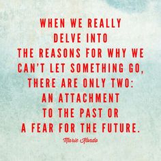 When we really delve into the reasons for why we can't let something go, there are only two: an attachment to the past or a fear for the future. - Marie Kondo