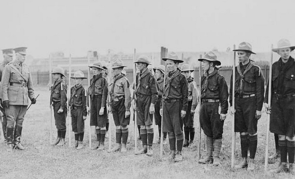 Brigadier General E.A. Cruickshank Reviewing Scouts, Calgary 1915